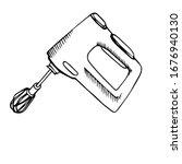 Hand Drawn Black Outline Mixer...