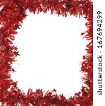 christmas red tinsel as frame.... | Shutterstock . vector #167694299