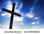 One Cross On Sky Background