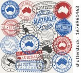australia set of stamps. travel ... | Shutterstock .eps vector #1676961463