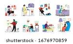 people do creative artistic... | Shutterstock .eps vector #1676970859