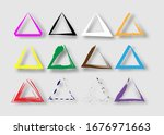 triangular stamps collection.... | Shutterstock .eps vector #1676971663