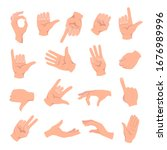 set of hands in different... | Shutterstock .eps vector #1676989996