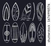 surfboard doodle set. vector... | Shutterstock .eps vector #1676998576