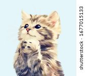 cute cat hopes vector with blue ... | Shutterstock .eps vector #1677015133