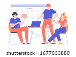 group of colleagues at a... | Shutterstock .eps vector #1677033880