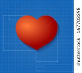 heart symbol like blueprint... | Shutterstock .eps vector #167703398