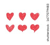 doodle hearts  hand drawn love... | Shutterstock .eps vector #1677079483