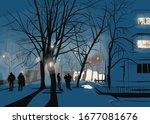 Digital Illustration. Night...