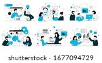 business concept with teams... | Shutterstock .eps vector #1677094729