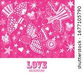 peace. love. cute vector... | Shutterstock .eps vector #1677105790
