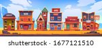 western town with old wooden...   Shutterstock .eps vector #1677121510