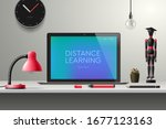 distance learning online... | Shutterstock .eps vector #1677123163