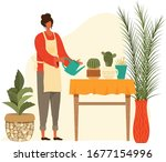 pot home plants and woman... | Shutterstock .eps vector #1677154996