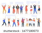 people hold banners. activists...   Shutterstock .eps vector #1677180073
