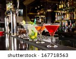 five cocktails on the bar... | Shutterstock . vector #167718563