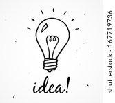 vector light bulb. idea  hand... | Shutterstock .eps vector #167719736