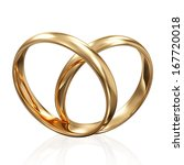Golden Wedding Rings in Heart Form isolated on white background - stock photo
