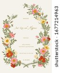 wreath with wild roses. wedding ... | Shutterstock .eps vector #1677214963