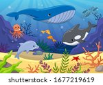 colorful underwater world with...   Shutterstock .eps vector #1677219619