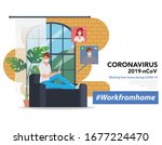 employees are working from home ... | Shutterstock .eps vector #1677224470