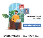 employees are working from home ... | Shutterstock .eps vector #1677224563