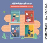 employees are working from home ... | Shutterstock .eps vector #1677224566