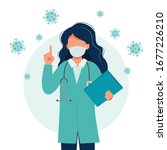 female doctor wearing a medical ... | Shutterstock .eps vector #1677226210