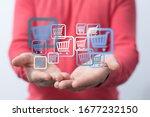 businessman pressing modern... | Shutterstock . vector #1677232150