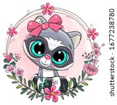 cute cartoon white raccoon with ... | Shutterstock .eps vector #1677238780