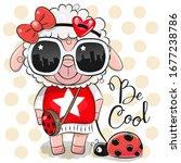 cool cartoon cute sheep with... | Shutterstock .eps vector #1677238786