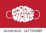 coronavirus lettering vector... | Shutterstock .eps vector #1677243889