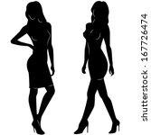 sexy woman silhouettes in short ... | Shutterstock .eps vector #167726474