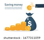 business hand putting coins in... | Shutterstock .eps vector #1677311059