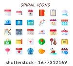 spiral icon set. 30 flat spiral ...