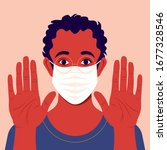 man wears mask with open palms... | Shutterstock .eps vector #1677328546