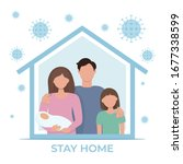 stay home during the... | Shutterstock .eps vector #1677338599