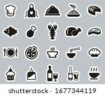 lunch or restaurant lunch icons ... | Shutterstock .eps vector #1677344119