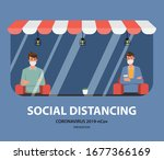 social distancing concept... | Shutterstock .eps vector #1677366169
