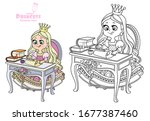 little princess sits at a table ...   Shutterstock .eps vector #1677387460