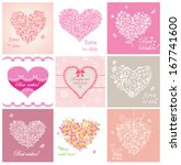 arrival cards with hearts  | Shutterstock .eps vector #167741600