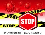 flying virus particles and stop ... | Shutterstock .eps vector #1677422050