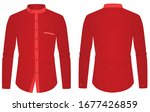 red long sleeve collared shirt. ... | Shutterstock .eps vector #1677426859