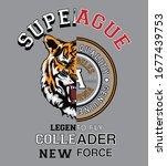 tiger. college wild tiger.... | Shutterstock .eps vector #1677439753