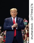 Small photo of Battle Creek, Michigan / United States - December 18, 2019: President Donald Trump at a campaign rally during the House of Representatives impeachment vote