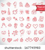 Stock vector i love you doodle icon set isolated vector illustration hand drawn 167745983