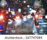 Road In Winter Night  Traffic...