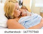 loving new mother practising... | Shutterstock . vector #167757560