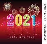 happy new year 2021 background... | Shutterstock .eps vector #1677584026