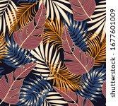 botanical seamless tropical... | Shutterstock .eps vector #1677601009